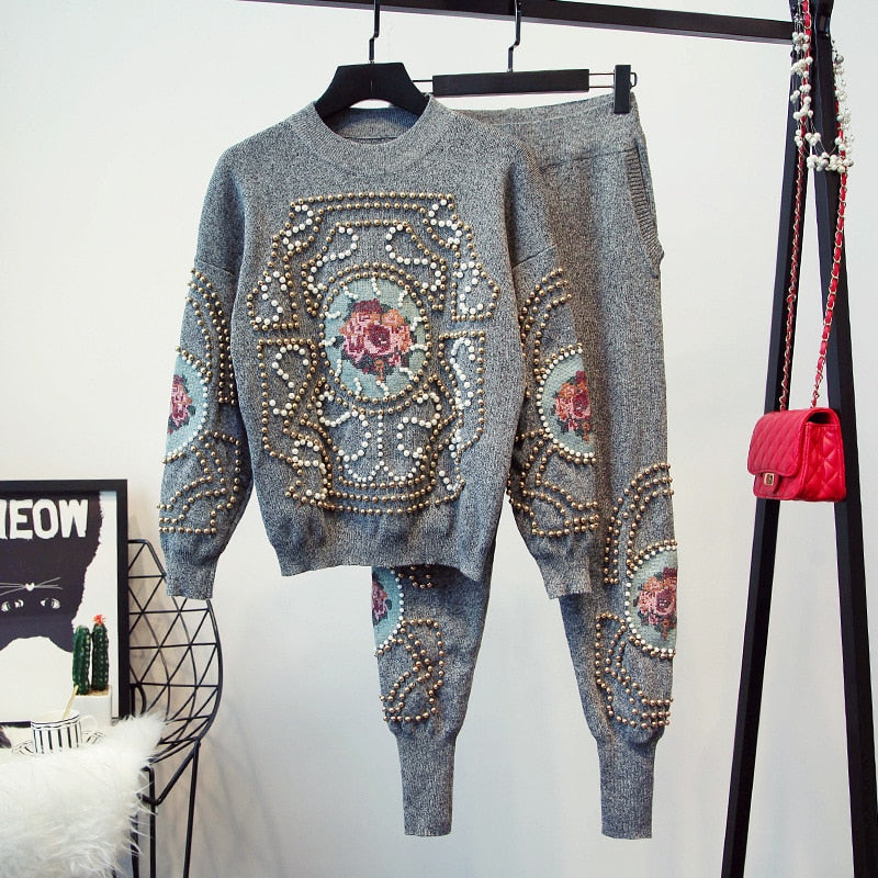 Autumn Winter New Fashion Tracksuit Women 2 piece set Beaded Embroidery Long Sleeve Sweater Casual Long Pants Female Knitted Set