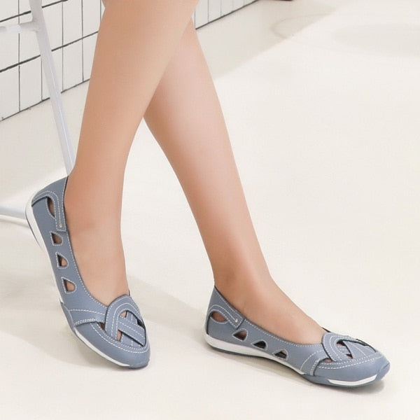 New flat shoes made of genuine leather; summer shoes; women's shoes
