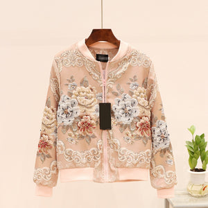 vintage Jacquard Satin embroidery jacket for woman beading floral embroidery long sleeve pink Baseball coat runway outfit 2020
