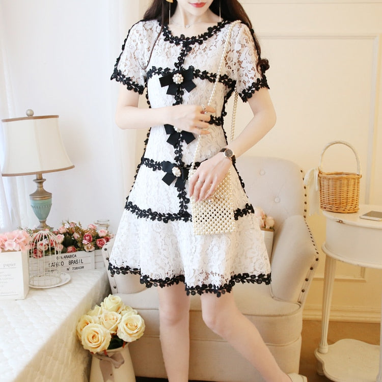 summer Japanese style small fragrance style lady style temperament slim slimming lace dress - LiveTrendsX