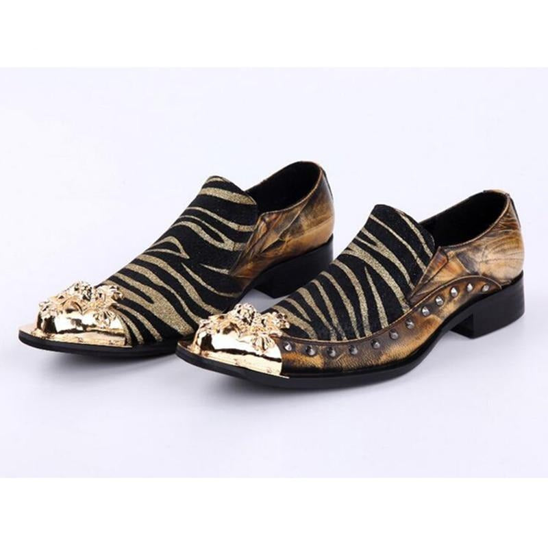 Luxury Metal Tip Formal Men Dress Shoes Leather Spikes Studded Men's Evening Wedding Party Shoes Plus Size - LiveTrendsX
