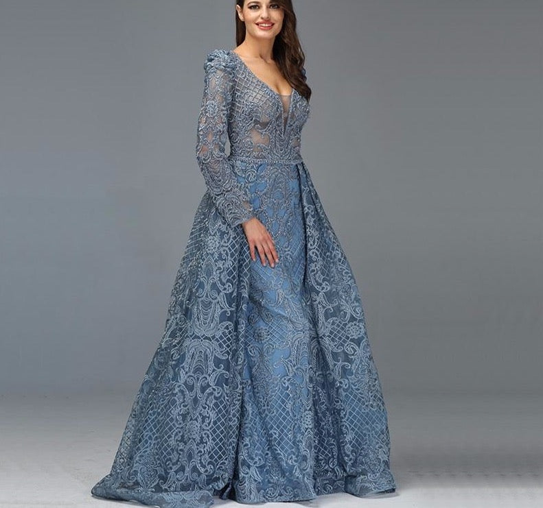 Dubai Blue Luxury Long Sleeves Evening Dresses 2020 V-Neck Handmade Flowers Crystal Sexy Evening Gowns Plus Size