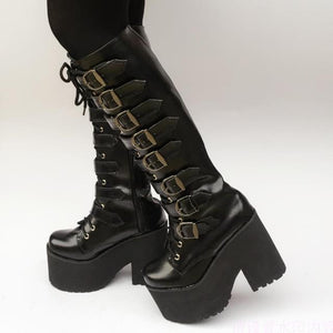 Japanese Harajuku High Platform Chunky Heel Cosplay Knee-High Boots Women Black Leather Belt Buckle Gothic Punk High Boots Zip - LiveTrendsX