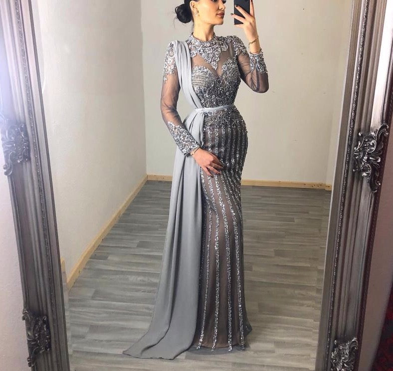 Muslim Grey Luxury Long Sleeves Evening Dresses 2020 Mermaid Diamond Sequined Sparkly Formal Dress - LiveTrendsX