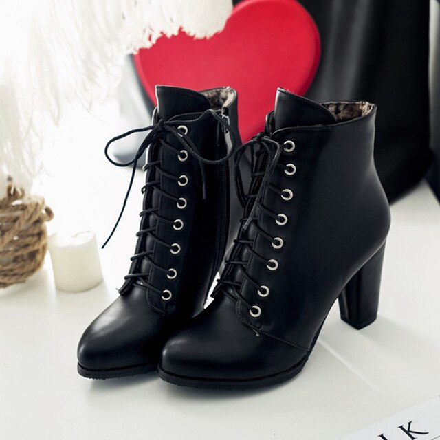 fashion genuine leather lacing boots New round toe zip mid calf boots women Ankle Boots - LiveTrendsX