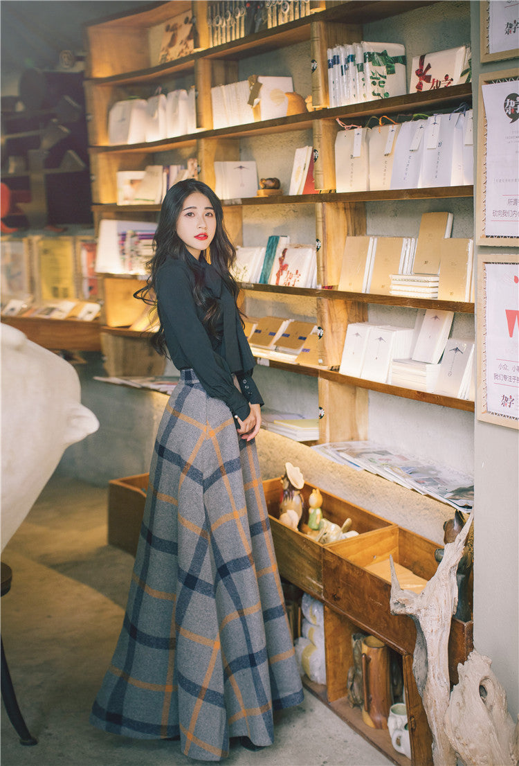 Autumn Winter Bow Neck Full Sleeve Blouse Shirt Top and Woolen Plaid Skirt Two-piece Outfits Set Suit Women Dresses - LiveTrendsX