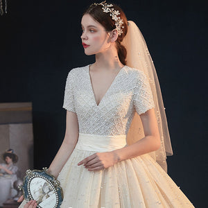 All Over Full Pearls Shiny Ball Gown Wedding Dress With Chapel Train Abiti Da Sposa V-neck Lace Up Short Sleeve Gorgeous Gowns - LiveTrendsX