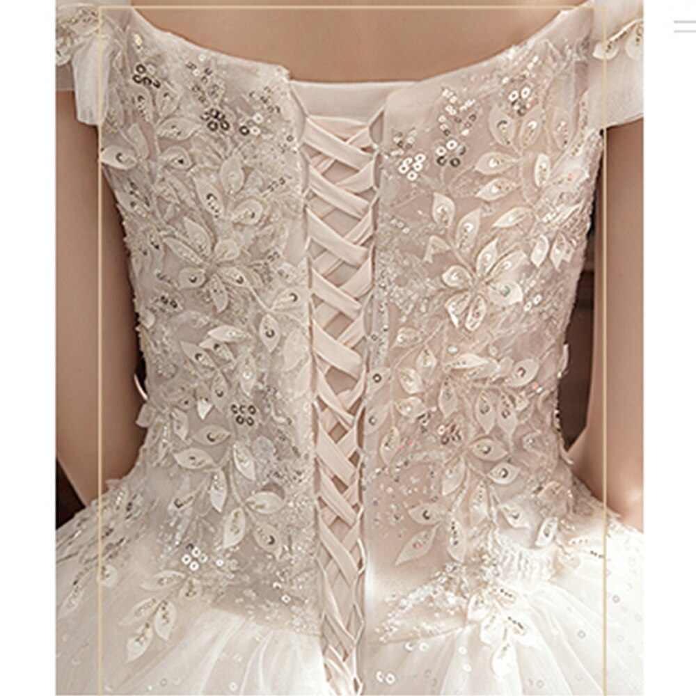Flowers Beading Sequined Shiny Wedding Dresses  Vestido De Noiva Lace Up Short Sleeve Princess Bridal Gowns - LiveTrendsX