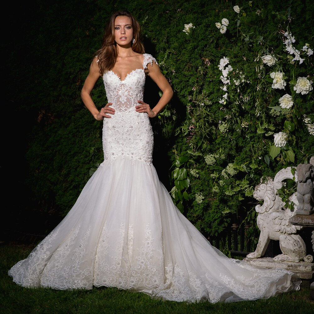 Beaded Crystal Appliques White Sexy Mermaid Wedding Gowns  Backless See Through Illusion Elegant Dress