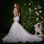 Beaded Crystal Appliques White Sexy Mermaid Wedding Gowns  Backless See Through Illusion Elegant Dress - LiveTrendsX