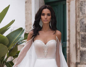 Vestido De Noiva Sereia Long Sleeve Satin Mermaid Wedding Dress With Removable Shawl Shiny Beading Crystal Wedding Gowns Elegant - LiveTrendsX