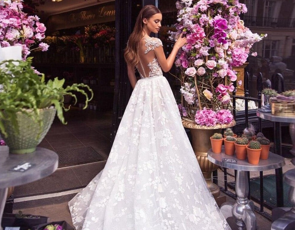 New Arrivals Bow Appliques Lace Beach Wedding Dress Elegant Vestidos De Novia Praia See Through Illusion Bridal Gowns - LiveTrendsX