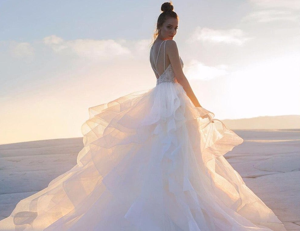 Princess Wedding Dresses A-line With Ruffles Skirt Bruidsjurken Shoulder Straps Sexy Backless Sparkly Pearls Crystal Gowns - LiveTrendsX