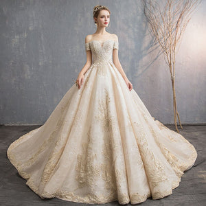 Romantic Elegent Long Maternity Dress Boat-neck Short Sleeve Champagne Lace Long Pregnancy Dress Luxury Long Tail Gown - LiveTrendsX