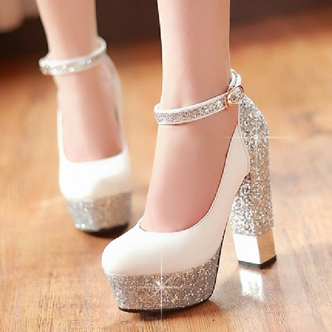 New Top Quality Large Size 32-42 Bling Upper Pumps Shoes Women High Heels Sexy Party Wedding Bride Shoes Woman - LiveTrendsX