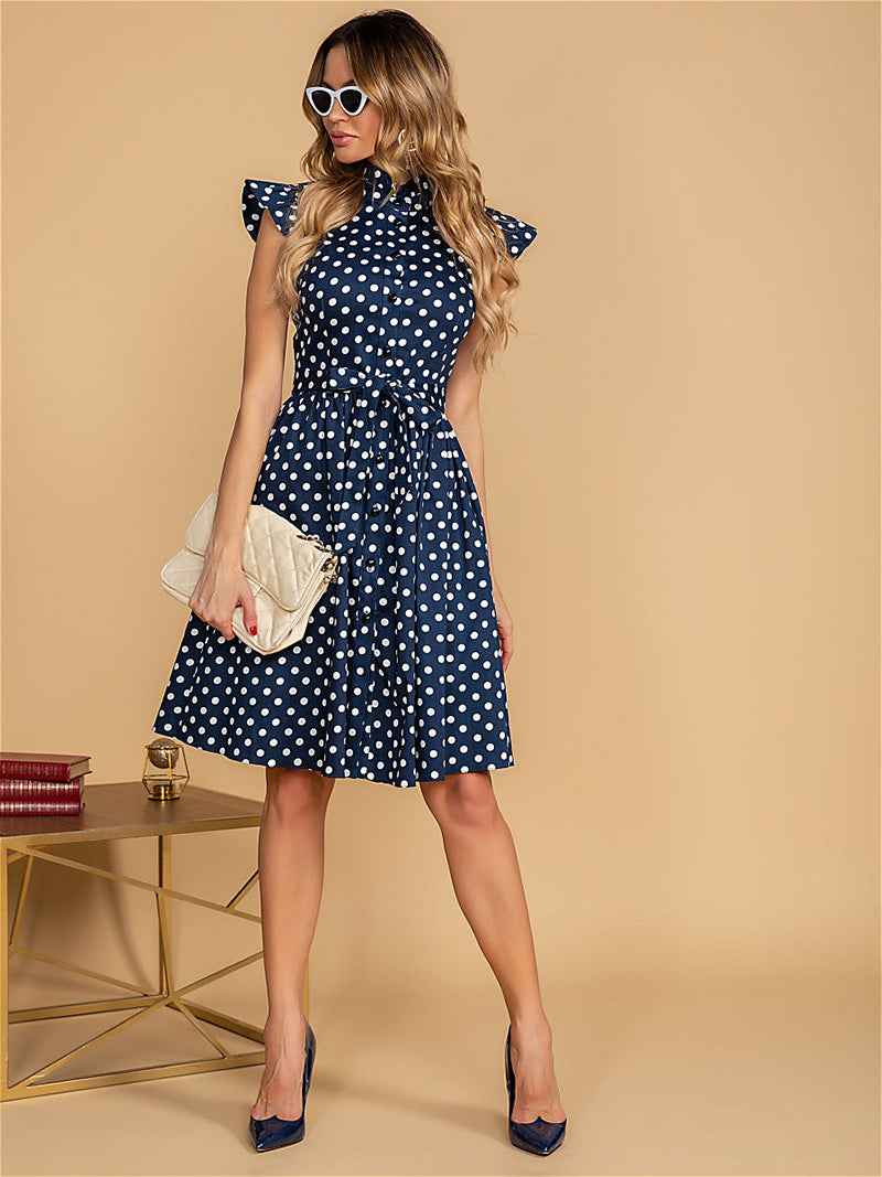 Ladies Vintage Ruffles Stand Collar Summer Dress Polka Dot Print Single Breasted Sashes A line Mini Dresses For Women