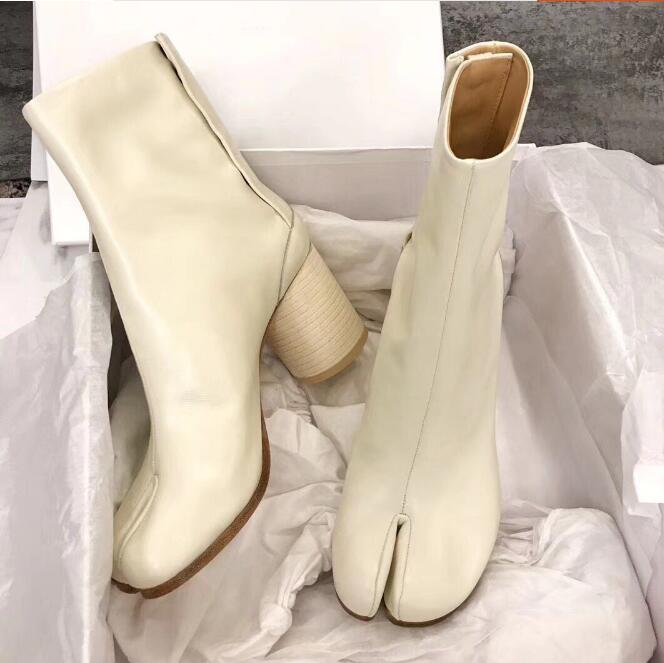 Tabi Split-toe Women Boots cream-colored Leather Buckle Chunky Block Heels Booties Botas Feminina Shoes Woman