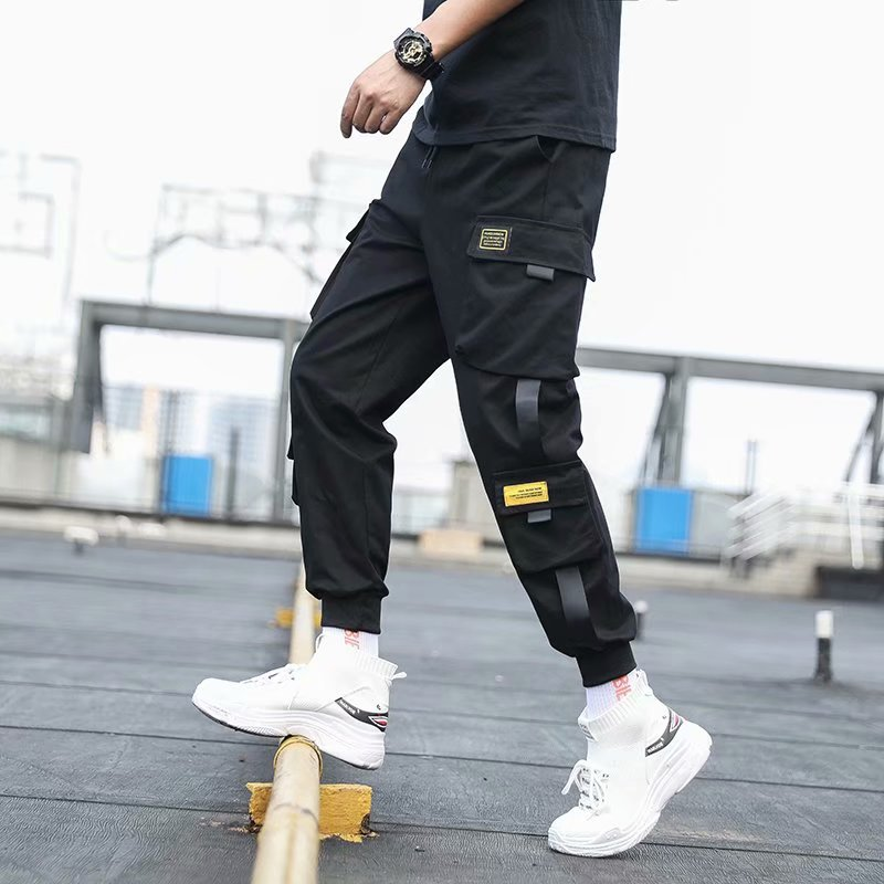 Men's Side Pockets Cargo Harem Pants 2020 Ribbons Black Hip Hop Casual Male Joggers Trousers Fashion Casual Streetwear Pants - LiveTrendsX