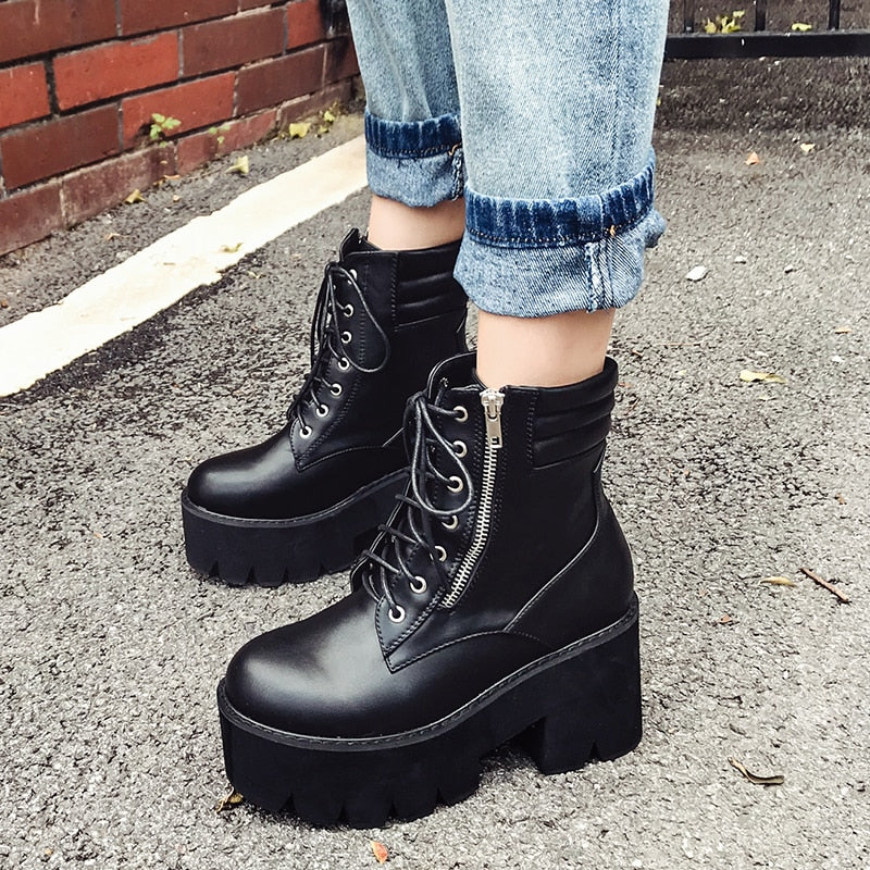 Autumn Ankle Boots For Women Motorcycle Boots Chunky Heels Casual Lacing Round Toe Platform Boots Shoes Female