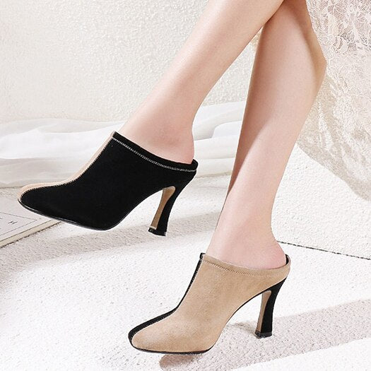 high heels black ladies square toe runway sandals pumps size 4 34 block fashion brand women shoes  suede genuine leather