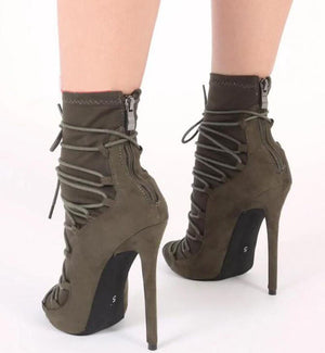 High Quality Women Fashion Open Toe Suede Leather Lace-up Gladiator Boots Super High Heel Ankle Boots