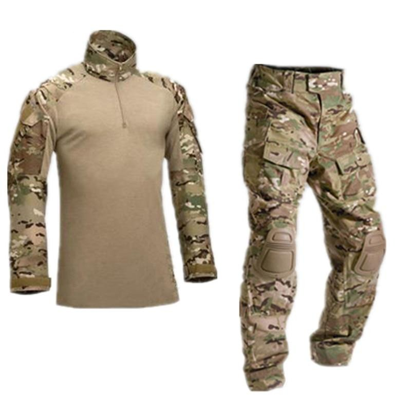 Tactical Camouflage Military Uniform Clothes Suit Men US Army clothes Military Combat Shirt + Cargo Pants Knee Pads - LiveTrendsX