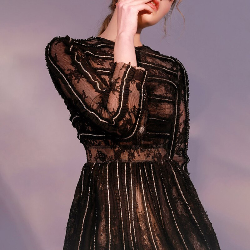 Vinatge Patchwork Lace Women Dress O Neck Long Sleeve High Waist Hit Color Dresses For Female Fashion 2020 Clothing