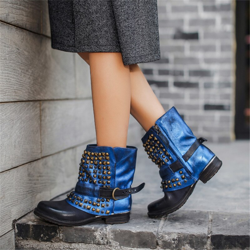 Full Rivets Women Ankle Boots Vintage Autumn Winter Belt Buckle Shoes Woman Side Zipper Genuine Leather Riding Boots - LiveTrendsX