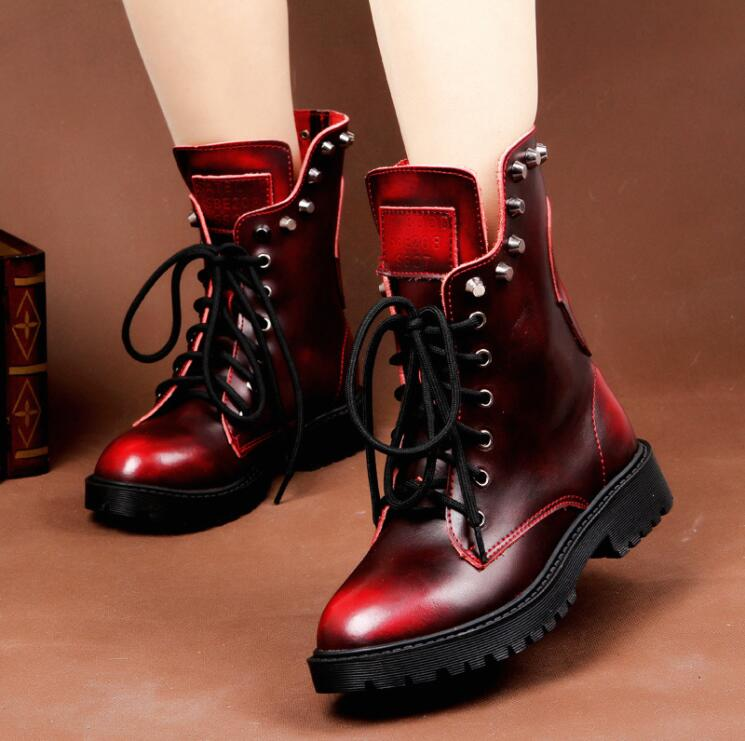 High Quality Women Shoes Woman Boots Fashion Short Motorcycle Boots Gradient Retro 2019 New Fashion Warm Plus Velvet Boots - LiveTrendsX