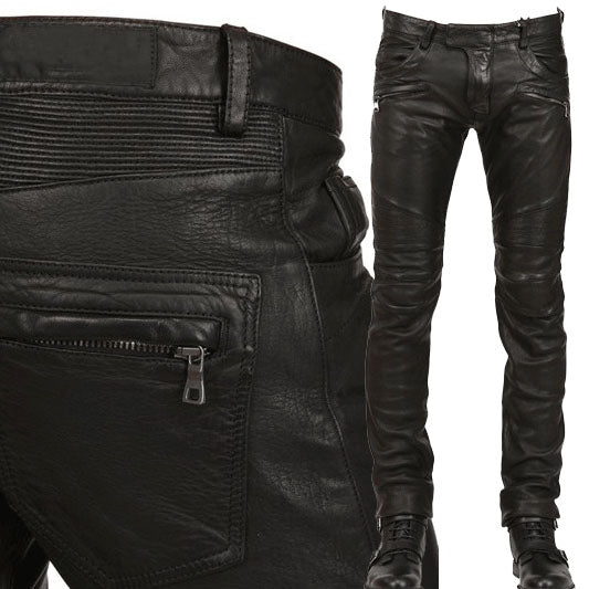 New Arrival  PU Leather Men's stylish Riding Jeans Biker slim casual  pants - LiveTrendsX