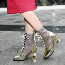 Load image into Gallery viewer, winter women's shoes thick with high-heeled tube in the women's boots in Europe and America with patent leather wild - LiveTrendsX