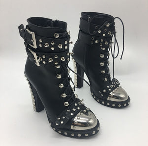 Cool Punk Metal Toe Chunky High-heel Boots Metallic Platform Boots Shoes Female Winter Autumn Studs Riding Boots Genuine Leather - LiveTrendsX