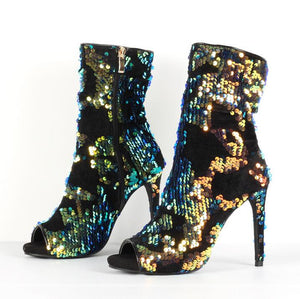 Sexy Colorful Sequins Peep Toe Socks Boots Shoes Side Zipper Bling Bling Paillette Stiletto Boots Real Photo Ankle Bootie - LiveTrendsX