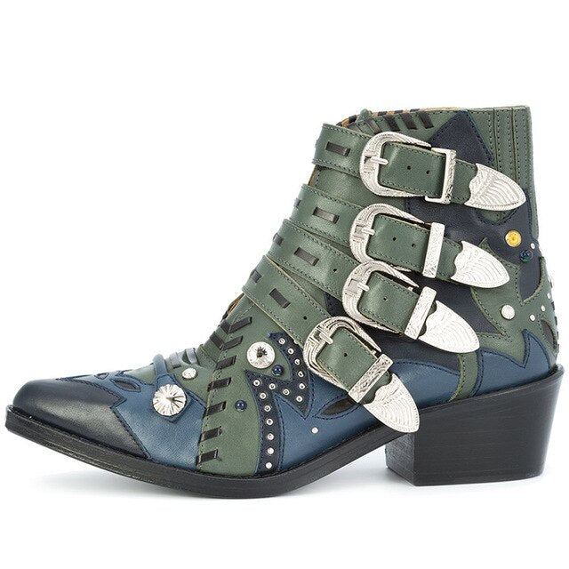 Spring Women Multi-color Leather Patchwork Metal Buckle Ankle Boots Rivets Studs Chunky Heels Motorcycle Boots Ladies Zapatos - LiveTrendsX