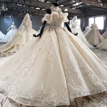 Load image into Gallery viewer, ball gown wedding dress luxury crystal high neck off shoulder bride dressing gown plus size - LiveTrendsX