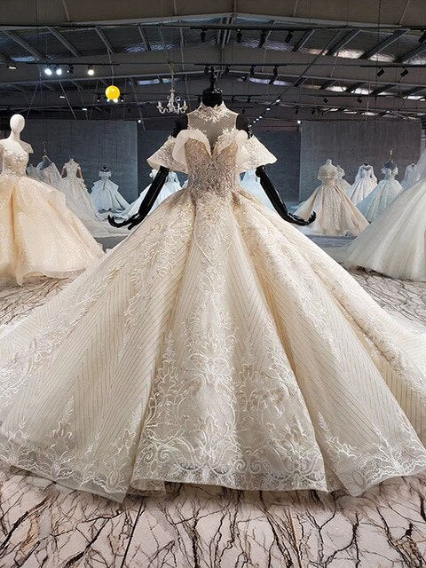 ball gown wedding dress luxury crystal high neck off shoulder bride dressing gown plus size - LiveTrendsX