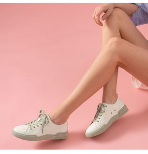 White Sneakers Women Genuine Cow Leather Round Toe Lace-Up Closure Spring Autumn Lady Casual Flat Shoes Handmade - LiveTrendsX