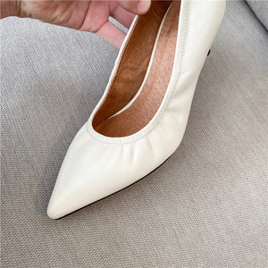 New Point Toe Shoes Women Pumps Women Spring Summer Party Wedding Shoes Fine Heels Genuine Leather Elegant Shoes Woman - LiveTrendsX