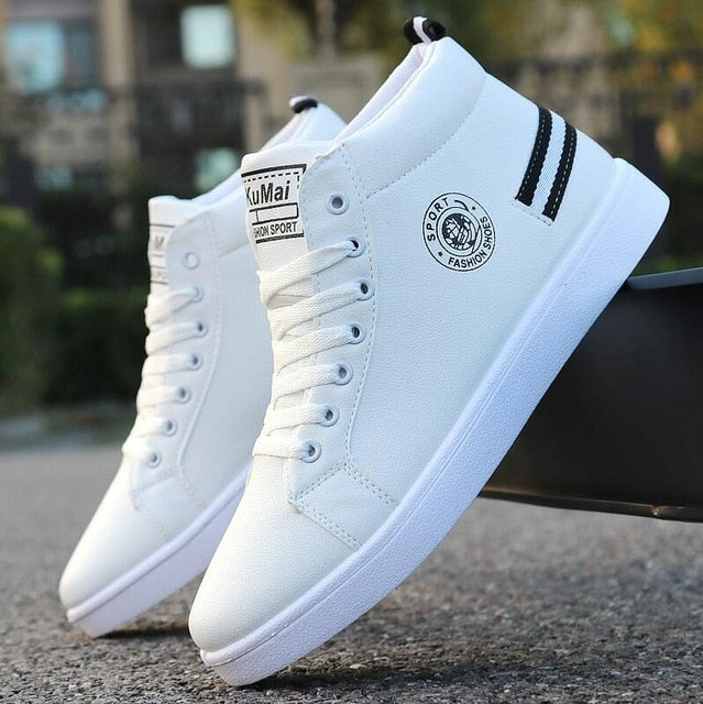Men's Skateboarding Shoes High Top Sneakers  Breathable White Sports Shoes Students Shoes Street Walking Shoes - LiveTrendsX