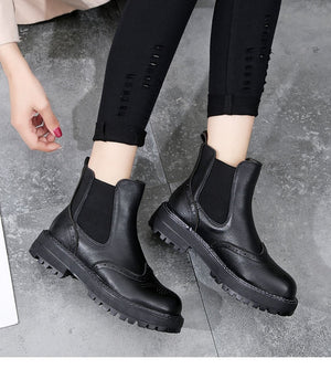 Handmade Women Boots 2020 Vintage Genuine Leather Flat Ankle Boots Ladies Autumn Winter Bullock Casual Platform Boots - LiveTrendsX