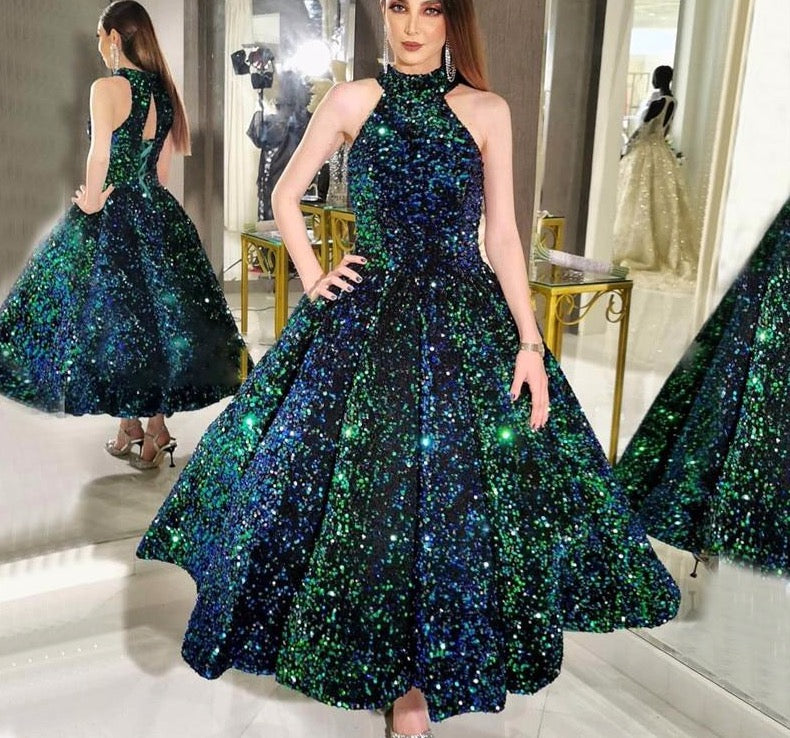 Green O-Neck Sexy Luxury Ankle-Length Evening Gowns 2020 Sleeveless Sequins Sparkle Formal Dress