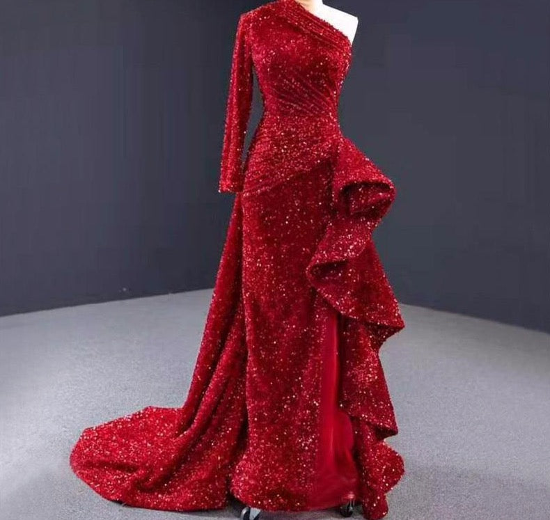 Dubai Luxury One Shoulder Red Evening Dresses 2020 Sequined Sparkle Mermaid Sexy Fromal Dress