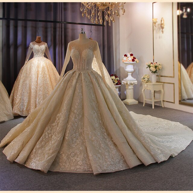 Elegant full beading body long sleeves lace wedding dress lighter champagne color can make ivory - LiveTrendsX