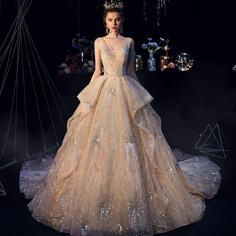 Luxury Starry Sky Wedding Dress Fairy Ruffle Ruched Sequin Beading Appliques Chapel Train Bridal Dress - LiveTrendsX