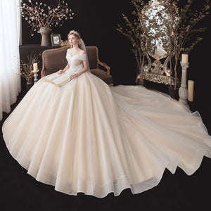 Shiny Ball Gown Wedding Dresses With Pearls Bow Vestido De Noiva Princesa Sweetheart Neck Lace Up Short Sleeve Elegant Dress