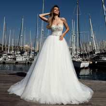 Load image into Gallery viewer, New Arrivals White Tulle Wedding Dress A-line Elegant Robe De Mariage Sparkly Beading Crystal Princess Wedding Gowns - LiveTrendsX
