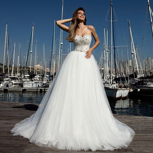 New Arrivals White Tulle Wedding Dress A-line Elegant Robe De Mariage Sparkly Beading Crystal Princess Wedding Gowns