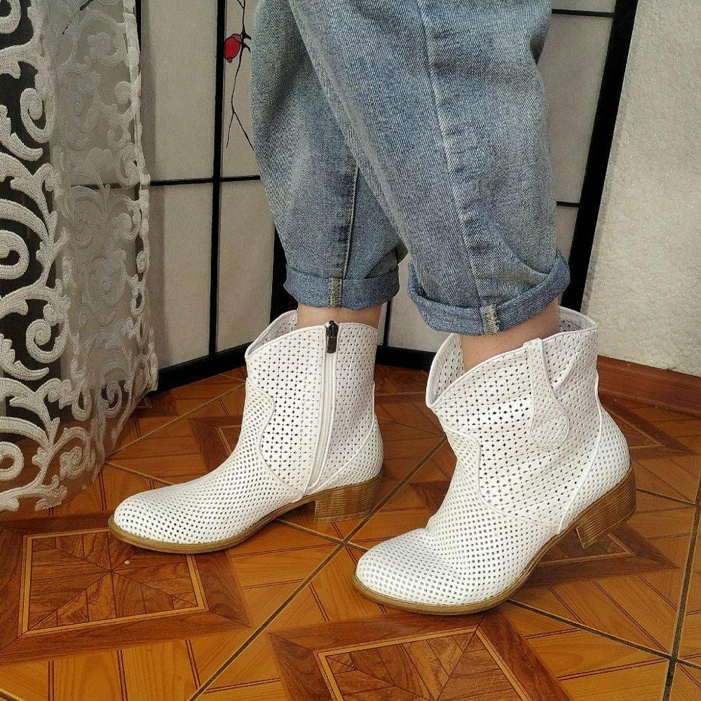 Genuine Leather Women's Spring Summer Boots Female Ankle Boots Ladies Casual Shoes Zipper Retro Block Hollow Out Breathable Slip on Low Heel