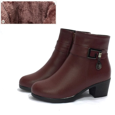 Genuine Leather women boots  2020 winter thick wool lined genuine Leather women snow boots large size women winter shoes - LiveTrendsX