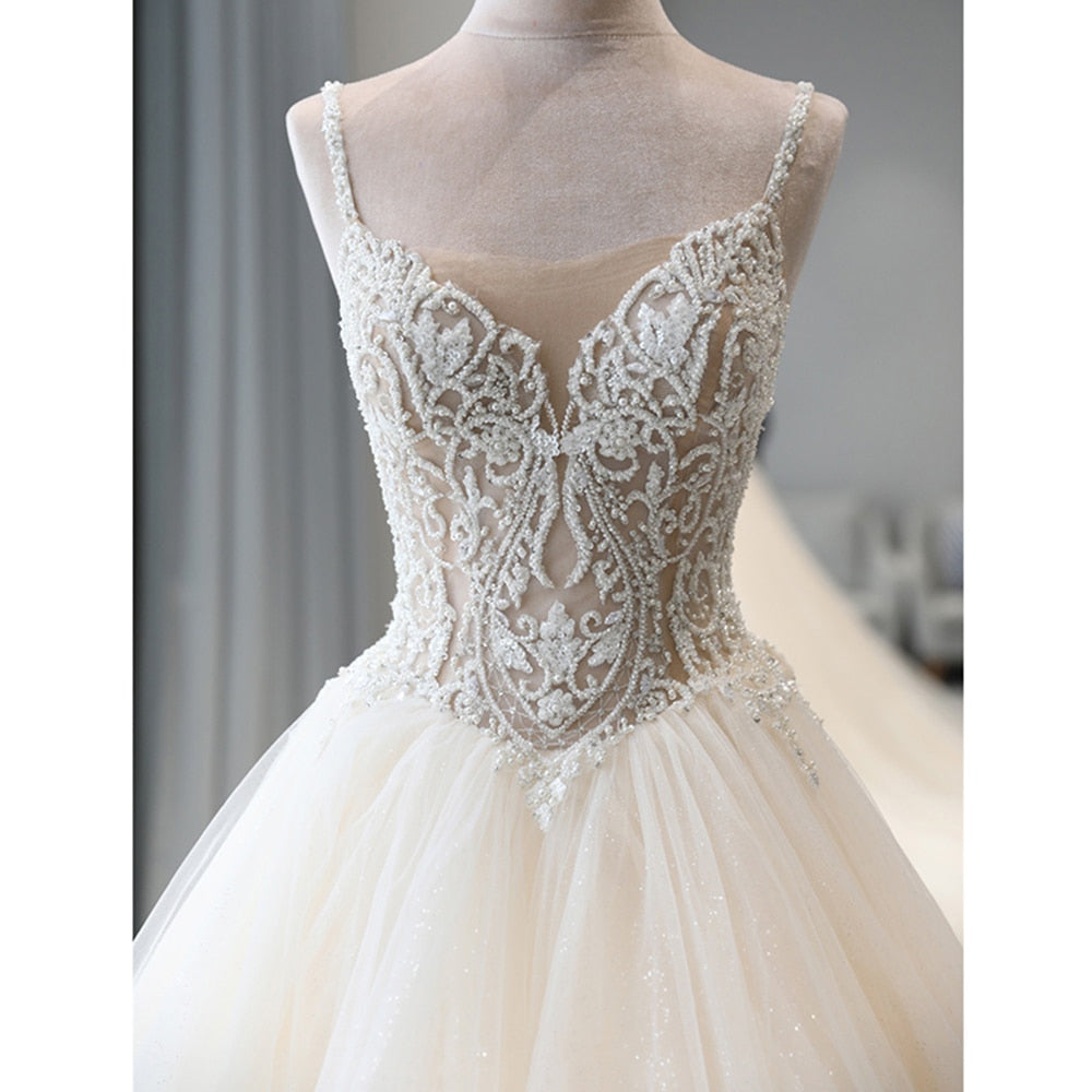 Shiny Beaded Crystal Body Princess Wedding Dresses A-line Vestido Noiva Shoulder Straps Backless Illusion Bridal Gowns